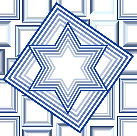 David star vector in outline blue design on white background. National Israel symbol in national Israel colors.