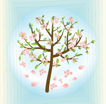crone: Tree with pink blossom, spring theme on abstract blue background, vector design element