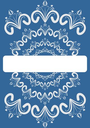 folklore: Folklore circular oriented white patterns on blue gradient background with blank area for own text, message, announcement, headline. Cover for photo album, diary Illustration