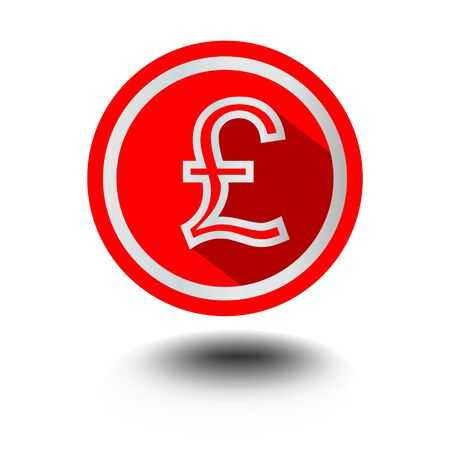 pound symbol: Pound symbol of English currency in red circle shape in modern flat design with long shadow Illustration
