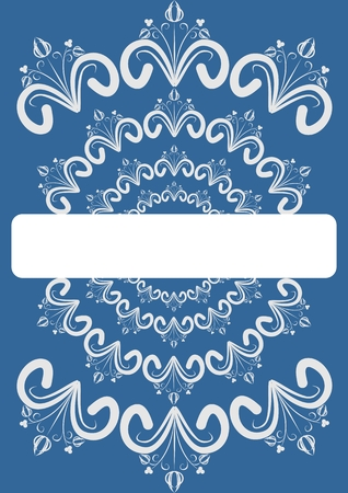 oriented: Folklore circular oriented white patterns on blue gradient background with blank area for own text, message, announcement, headline. Cover for photo album, diary Illustration