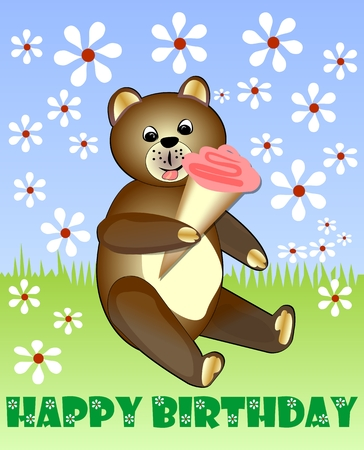 happybirthday: Cute teddy bear eating ice cream on meadow with white small daisies. Happy birthday billboard for children party. Vector illustration