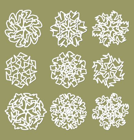 fine weather: White geometric star shapes, snowflakes with fine shadow, set of design elements