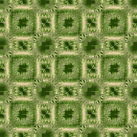 gritty: Background with green and beige gritty square patterns, modern grunge  ornament for textile