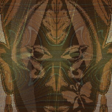 ritual: Close up of gold decorated ritual mask on canvas textured background
