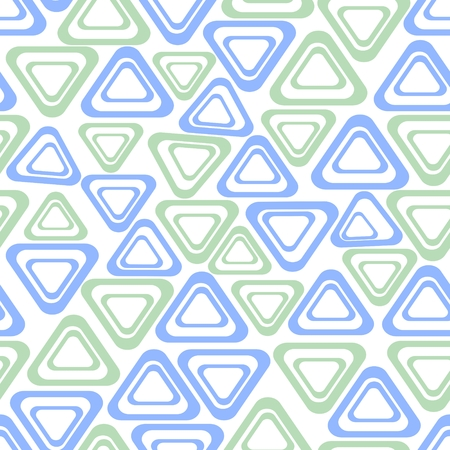 contrasting: Seamless background with simple triangle shapes in light green and blue on white background, grunge low contrasting ornament Illustration