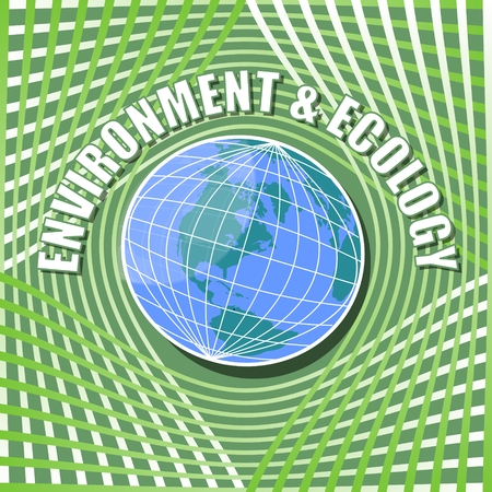 congress: Abstract template with globe in middle on vivid green wavy background and inscription environment and ecology, suitable for ecology leaflet, poster,  conference and congress information materials about environment Illustration