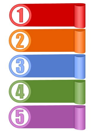 rolled paper: Infographic template for presentation of five options or steps with blank frames for own message in paper design, rolled paper stripes