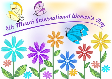rejoicing: International Womens Day in beautiful pastel colors with colorful flowers and butterflies. 8th March greeting billboard or placard, useful for gift shop