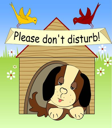 dog sleeping: Plush dog sleeping in the shed on meadow, please do not disturb, two birds sitting on the roof, cartoon comic illustration Illustration