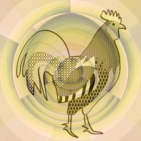 morning  cock: Cock, black drawing on abstract beige background resembling a misty morning sun, symbol of chinese horoscope, year of the rooster Stock Photo