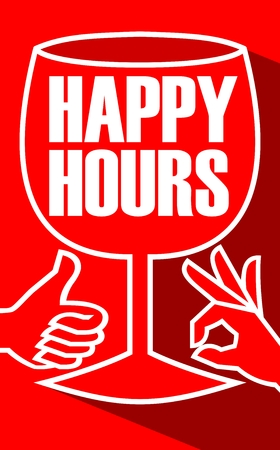 happy hours: Happy hours billboard with a wine glass and finger gesture, flat design white line drawing with long shadow on red background. Invitation to restaurant discount time