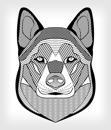 symetric: Malamute hound head, black and white drawing on gray background. Isolated symmetric head with hatching and patterns. For use as tattoo template, club emblem, cynology events Illustration