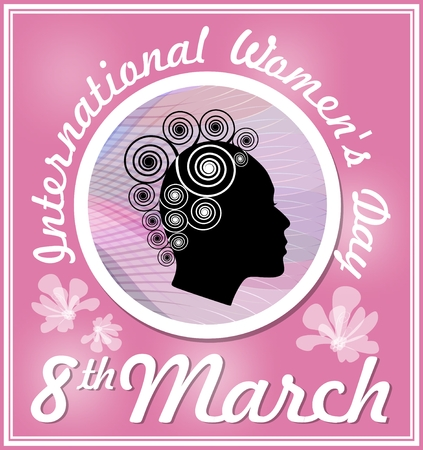 black woman face: International Womens Day in elegant design with black woman face profile in medallion with abstract wavy background. Classical pink design. 8th March greeting billboard or placard, useful for gift shop