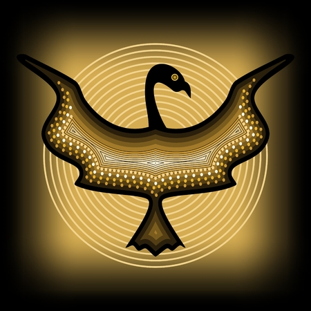 hoary: Mythologic ornamental bird silhouette, tribal symmetric drawing on black background with gold circles Illustration