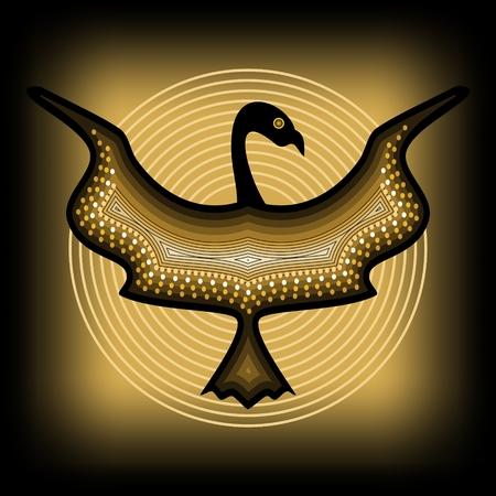 Mythologic ornamental bird silhouette, tribal symmetric drawing on black background with gold circles Illustration