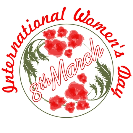 rejoicing: International Womens Day in grunge design with and red flowers. 8th March inscription and international Womens Day inscription on greeting billboard or placard, useful for gift shop as announcement