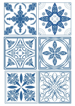 ceramic tiles: Set of vintage ceramic tiles in azulejo design with blue patterns on white background, traditional Spain and Portugal pottery
