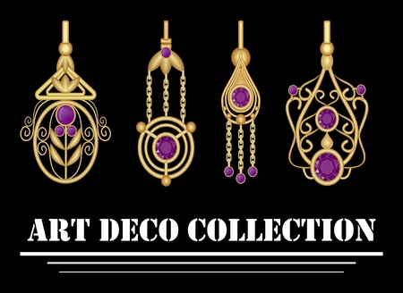 amethyst: Collection of elegant gold earrings with purple amethyst gem in art deco. Symmetric classic design, jewel for festive occasions.