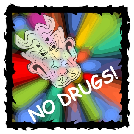 dependence: Vector anti drug poster with fuzzy devil face on psychedelic multicolored background with black grunge frame. Drug warning, no drugs, no dependence