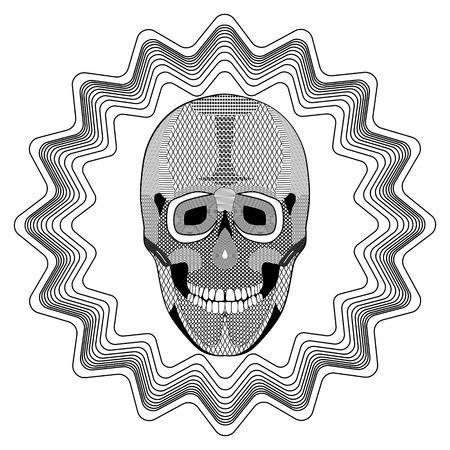 hatched: Smiling human skull on star shape background, black and white drawing with hatched and patterned parts. Tattoo template