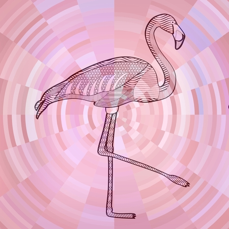 sliver: Flamingo black line drawing on abstract pink circle background composed from sliver
