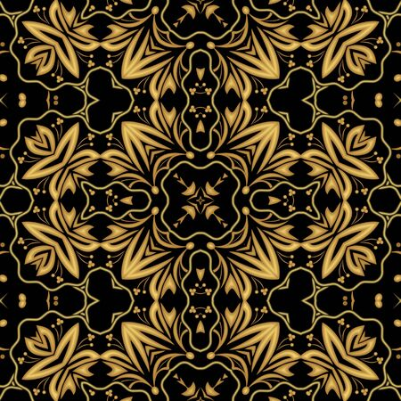 brocade: Luxurious golden embossed brocade or damask oriental patterns, symmetric ornament on black background, useful as decoration for major ceremonial events such as luxury funerals Stock Photo