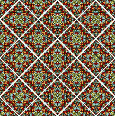 shards: Decorative colorful mosaic tile. Seamless vector rhomboid patterns filled with multicolored shards