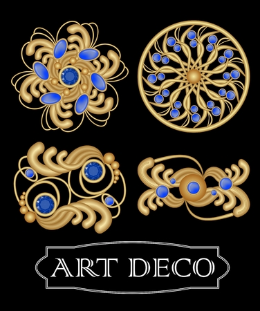priceless: Set of gold filigree brooch with blue gems sapphire in art deco style. Round symmetric retro jewel from gold metal Illustration