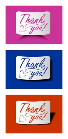 acknowledgment: Thank you card set in different colors, calligraphy inscription on bended paper with different shadow Illustration