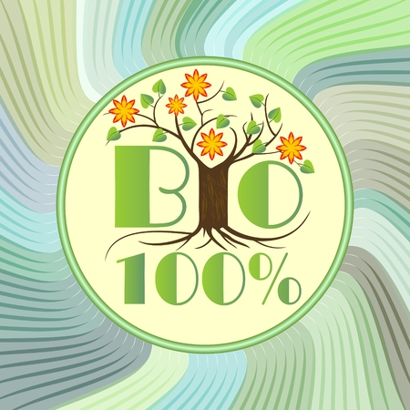 ecologic: 100% bio emblem with tree in blossom on green wavy background, etiquette for natural ecologic products from ecology agriculture