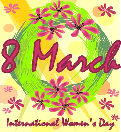 rejoicing: International Womens Day in grunge design with spring wreath and red flowers. 8th March greeting billboard or placard, useful for gift shop