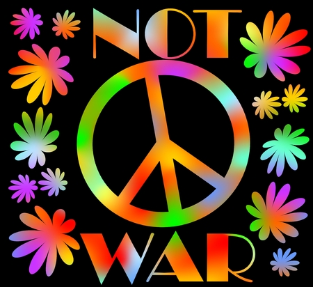 peace movement: International symbol of peace, disarmament, anti-war movement. Grunge street art design in hippies rainbow colors, inscription not war. Vector image on radiating background. Retro motif of hippies movement