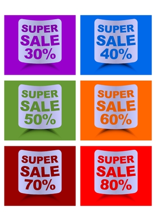 30 to 40: Super sale label set, percent discount, labels in different colors for 30, 40, 50, 60, 70, 80 percent, cambered paper shapes with shadow Illustration