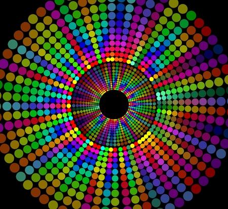 forma de círculo compone de puntos del arco iris en el fondo negro, alegre decoración de contraste para el disco, partido, festival, club nocturno Ilustración de vector
