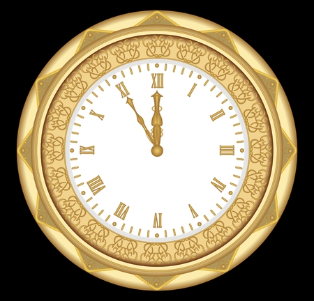 ancient roman: Ancient clock of the gold metal with ornaments and roman numerals, vintage isolated object on black background. Clock in art deco style