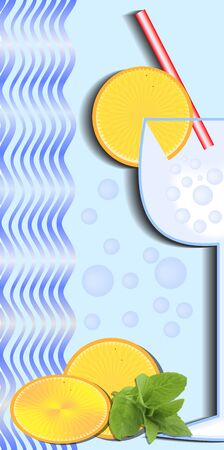 refreshment: Cold drink poster with glass, red straw, orange slices and mint sprig, cool blue background with waves and bubbles, summer offer of fresh cool refreshment, fruit drink, juice, cocktail Illustration