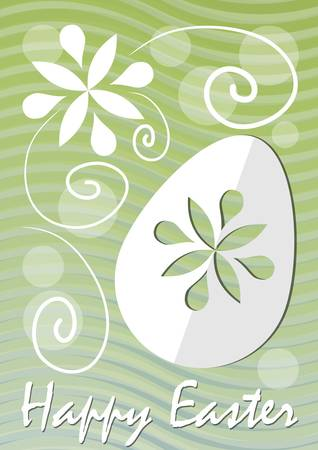 unobtrusive: Happy Easter fine green wavy background with easter egg paper cut and white floral motif. Unobtrusive template for postcard, easter decoration, easter offer leaflet, spring poster, modern easter flyer