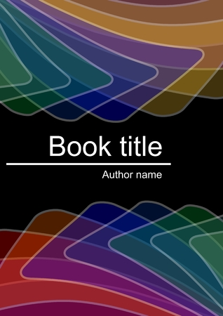 semitransparent: Dark book cover with abstract multicolored semitransparent shapes with white outline