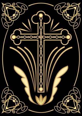 리치는 위엄 기독교 장례를위한 장송 십자가 모티브, 아트 데코 ornamets, 검은 색 바탕에 대칭 선조 디자인, 장식 장식 일러스트