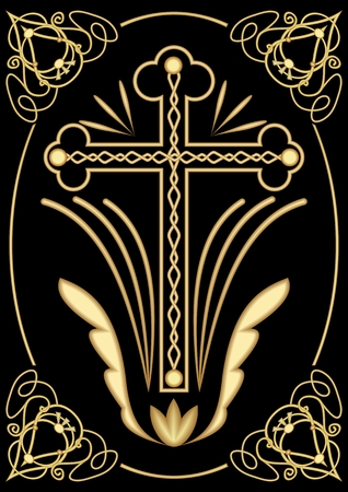 catholicism: Rich decorated funereal motif with cross, art deco ornamets, symmetrical filigree design on black background, decoration for dignified Christian burial