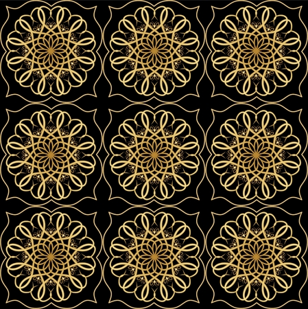 antiquarian: Luxury elegant background with golden filigree circular lace patterns on black background, embossed rich ornament in antiquarian style Illustration