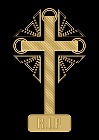 dignified: Modern gold decorated funereal motif with cross, R.I.P. inscription, symmetrical cubist design on black background, decoration for dignified Christian burial
