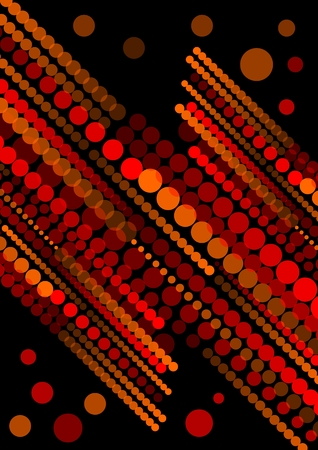 powerful aura: Abstract background composed of red semitransparent circles and dots arranged in diagonal strips on black background