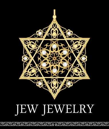 estrella de david: Colgante de oro de lujo con adornos estrella de David Rich filigrana y perlas, hermoso joya, símbolo histórico judio Magen