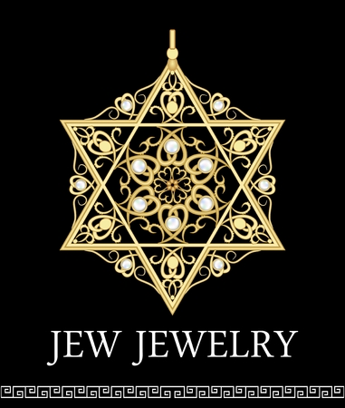 Luxury Golden pendant with star David Rich filigree ornaments and pearls, isolated jewel, historic jew symbol Magen Illustration