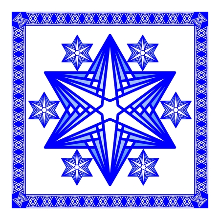 yiddish: Star of David decoration tile. Composed of simply shapes in blue and white modern design