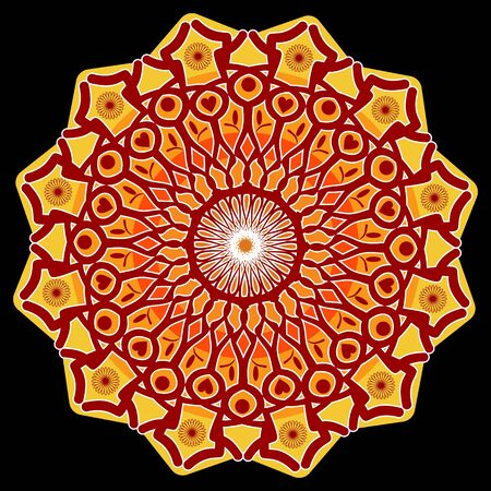 star power: Power mandala, star shape in red, orange and yellow on black background, an aid to meditation Illustration