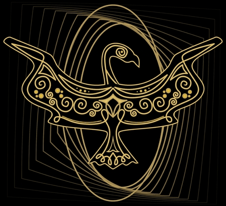 hoary: Mythologic ornamental bird silhouette, tribal symmetric drawing on black background with gold curves