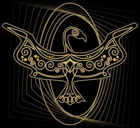Mythologic ornamental bird silhouette, tribal symmetric drawing on black background with gold curves